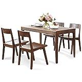 Esstisch Hölzern Tabelle Esstisch Tischset mit 4 Esszimmerstühlen Essensstuhl Küche Frühstück Esszimmer Möbel Besprechungstisch (Farbe : Table(130cm)+4 Chair)