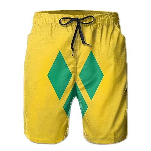 Neue Cartoon-Mode Flagge von St. Vincent und die Grenadinen Shorts Strand Casual Shorts für den Menschen XXL