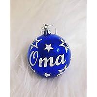 1 Weihnachtskugel personalisiert mit Namen und Sterne in blau