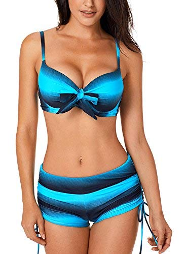 Dokotoo Sexy Bikini Push Up Maillot de Bain Femme 2 Pièces Soutien-Gorge avec Short Multicouleur Swimwear, Rouge, L(EU44-46)