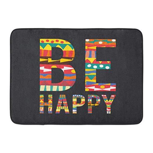 Bai Qian Rutschfeste Fußmatten Inspiration Bunte typografische auf inspirierenden und motivierenden Zitat Seien Sie glücklich Spaß langlebige Teppiche 40 x 60 cm