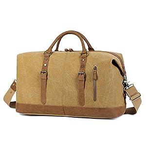 41AkfTqTLCL. SS300  - EverVanz Bolsa de Viaje Lona, Gran tamaño Bolso del Fin de Semana con Decoración De Cuero, Vintage Bolsas de Deporte…