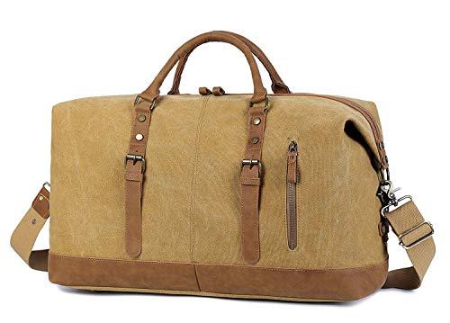 EverVanz Übergroßer Reisetaschen, Wochenend Tasche, Seesack, Vintage Handtasche, Segeltuch Lederbesatz Unisex Schultertasche -
