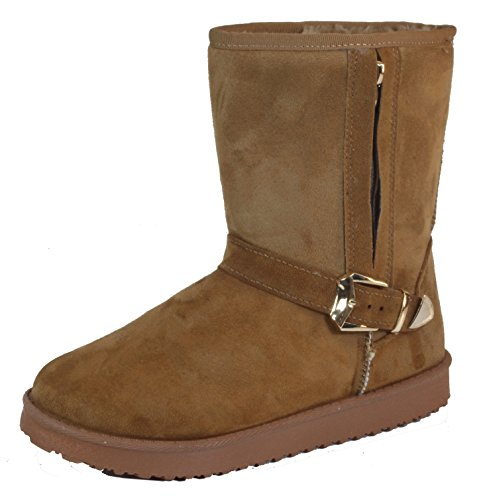 Maddoms - Damen Schlupfstiefel Schnee Regen Classic gefütterte Stiefel Winter Fur Boots Camel