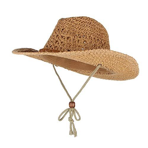 Sharplace Unisex Cowboy Stroh Hüte Westernhut Western Kostüm Sonnenhut Breiter Krempe mit Kinnriemen - Khaki, 50 cm (Halloween-kostüme Cowboy Western)