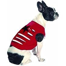 Bobby Marshall perro camiseta, rojo diseño de rayas