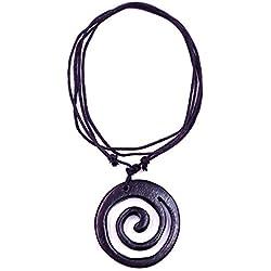 made in zen - Collar de Madera con Colgante étnico Tribal Ajustable Wooden Necklace Tribal en Espiral