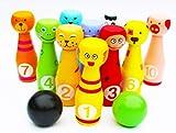 Toys of Wood Oxford Juego de Bolos de Madera con 12 Bolos de Colores - Bolos de Juguete con números para aprende a Contar y aprendiendo los Colores los Colores - Juegos Deportivos para niños
