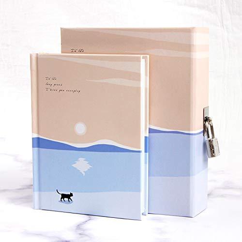 Tagebücher Notizbuch mit Schloss Süß Katze Muster Tagebuch Buch Tagebuch Schreibwaren Geschenk (G)
