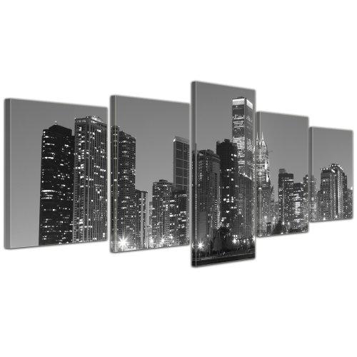 Wandbild - Chicago - Bild auf Leinwand - 200x80 cm 5 teilig - Leinwandbilder - Bilder als Leinwanddruck - Städte & Kulturen - Amerika - USA - Stadtansicht in schwarz weiß