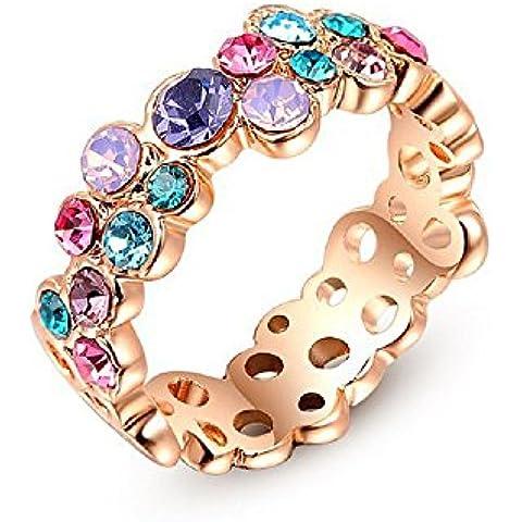 Bling fashion diamante anello placcato in oro rosa 18K con Colorful Circle rotondo design