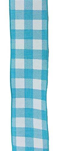 Kariertes Schleifenband, kariert, 3,8 cm, Türkis/Weiß (Blau Karierte Party Supplies)
