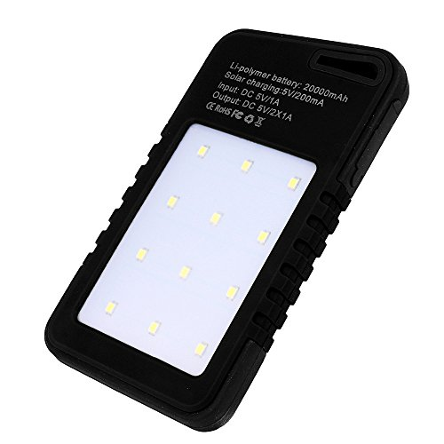 Colorful 20000 mAh Dual-USB Solar Power Bank Ladegerät Geeignet für Smartphone/Tablet PC/MP3 Player/Digitalkamera (Schwarz)