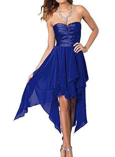 AZBRO Damen Doppel V-Ausschnitt Ärmelloses Spitzenkleid Brautkleid Abendkleid Royal Blue