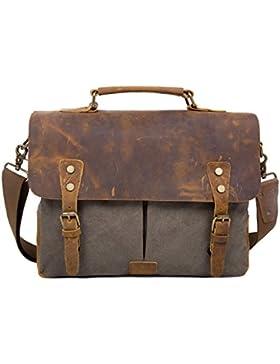 [Gesponsert]ECOSUSI Umhängetasche Herren Aktentasche Messenger Bag Canvas Schultertasche Leder Tasche
