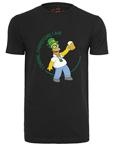 MERCHCODE Herren Simpsons Homer Drink Tee T-Shirt, Black, M -