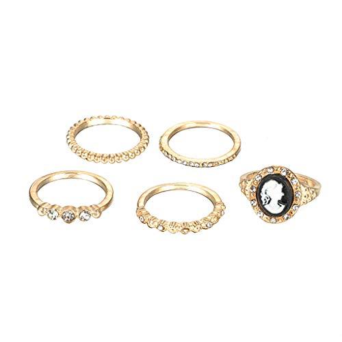 ZYUEER Frauen Arbeiten Geometrischen Kreis Diamant MetallporträT Ring Satz Von Fünf Schmucksachen Um - Diamant-hochzeit Gold Ring-sätze