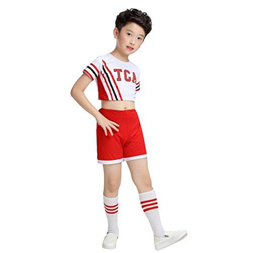 Mädchen Jungen Cheerleader Kostüm Cheerleading Uniform Karneval Weihnachten Fasching Party Halloween Kostüm Bekleidung mit 2 Pompoms Socken (Köpergröße100cm, Jungen) (Kid Maskottchen Kostüme)