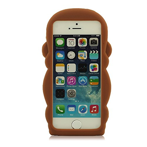 Pur 100% Silicone Coque, Mignon Singe Forme Modélisation Coque Design for iPhone 5 5S 5C 5G + HD Protective Film, Prime Souple Étui de protection, Coque pour iPhone 5, étui pour iPhone 5S, Case pour i Brun