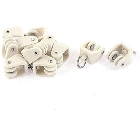 Plástico giratorio de los ojos anilla vía férrea rodillos superiores 10 piezas