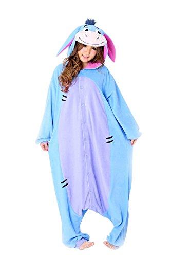 Kostüm Puuh Winnie Ferkel - Flanell Blauer Esel Cartoon Tier einteiligen Pyjamas Sleepsuit Pyjamas Kostüm Cosplay Homeware (L(165-175cm), 11.Blauer Esel JP94)