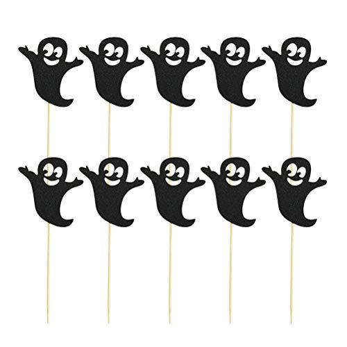Toyvian 10 STÜCKE Cake Toppers Papier Black Ghost Form Kürbis Cupcake Pick für Halloween Festival Party Supplies