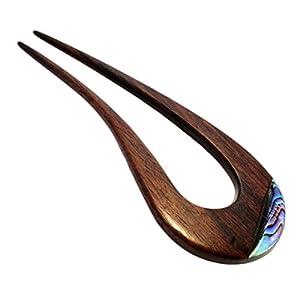 ISLAND PIERCINGS Haarnadel Handarbeit aus Holz mit Perlmutt Einlage HN163