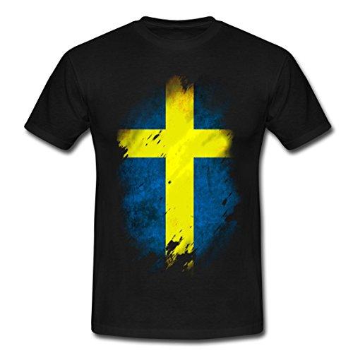 Spreadshirt Schweden Flagge Männer T-Shirt, XXL, Schwarz