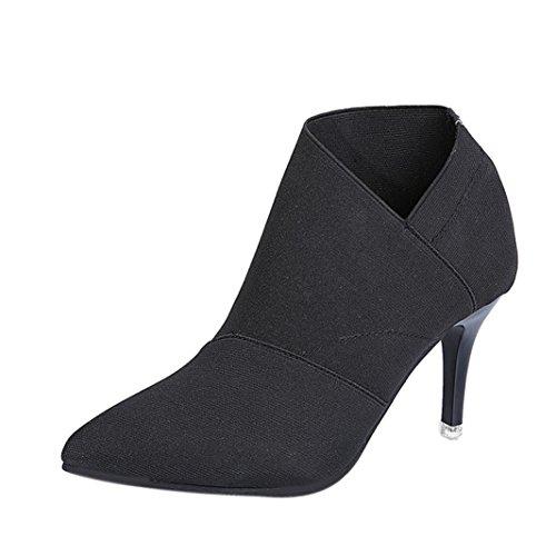 Tefamore donne stivali punto punta con tacco autunno inverno appeso scarpe (37, nero)