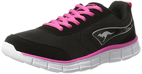 KangaROOS Damen KR-Run Ref Sneaker, Schwarz (Jet Black/Blossom Pink), 37 EU
