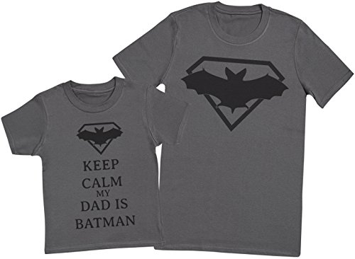 Keep Calm My Dad Is Batman - Matching Father Kids Gift Set - Mens T Shirt & Kid's T Shirt