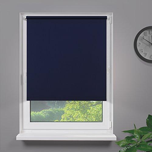 Fensterdecor Klemmfix Mini Sichtschutzrollo ohne Bohren inkl. Klemmträger/Blau 70 x 120 cm (BxH)