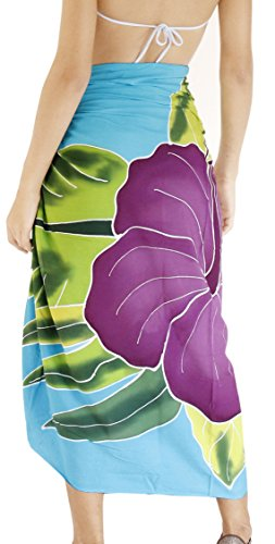 La Leela douce rayonne lisse main peinture hibiscus feuillue couvrir sarong 78×43 pouces