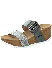 Pepe jeans Tyron Argent - Chaussures Mules Femme