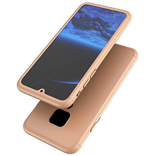 Herbests Kompatibel mit Huawei Mate 20 Hülle 360 Grad Schutzhülle 360° Full Cover Case PC Hartschale Anti-Kratz Stoßfänger Handyhülle Komplettschutz Vorder und Rückseiten Hülle,Gold