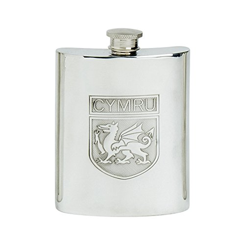 Edwin Blyde & Co tradizionale forma di Rene Welsh Shield design Spirit Flask, Pewter, 170,1gram