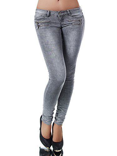 L851 Damen Jeans Hose Hüfthose Damenjeans Hüftjeans Röhrenjeans Röhrenhose Röhre, Größen:40 (L), Farben:Grau