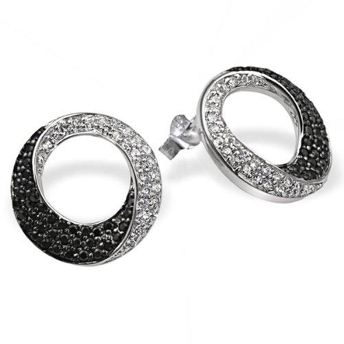 Goldmaid Damen-Ohrringe 925 Sterlingsilber 50 weisse 72 schwarze Zirkonia -