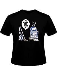 T-Shirt Geek - Parodie auf R2D2 von Star Wars - Traduction Allemand - Ich Bin Dein Vater - T-shirt Homme Noir - Haute Qualité