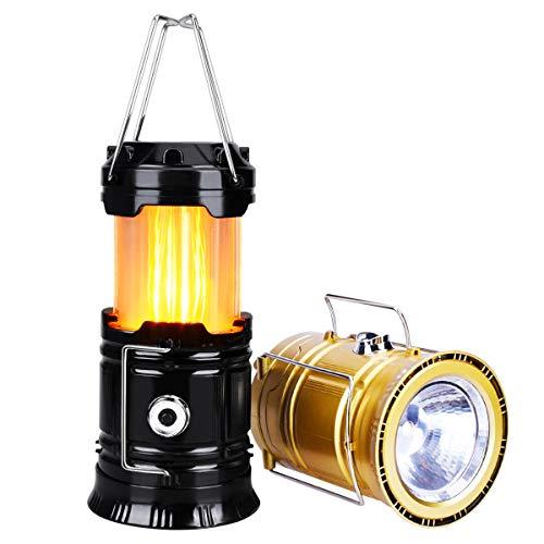YoungRich 2X Wasserdicht Tragbare LED Campinglampe Ausziehbar Campingleuchte Flamme Effekt Zelten Laterne mit 2 Lichtmodi für Wandern Abenteuer Angeln Garage Stromausfall Schwarz Gold 19.5x9.5cm -