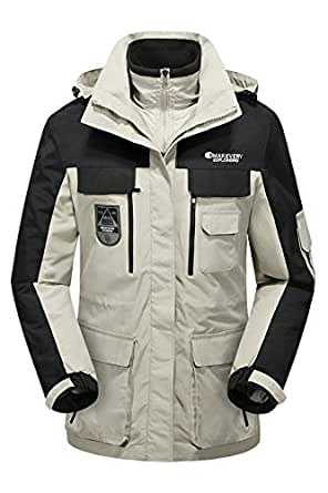 a96502c5202 Winter Mens Casual Jacket Patchwork Color Hooded Thicken 3 in 1 Wind-Proof Jacket  Coats