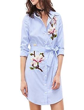 Vestido largo Amlaiworld Mujeres bordadas floral manga larga rayas verticales Camisa de vestir (Tamaño:XL, Azul)