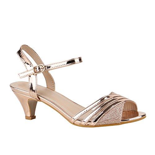 Damen Schuhe Lack Sandaletten T-Strap Metallic Riemchensandaletten 155919 Rose Gold Lack 40 Flandell
