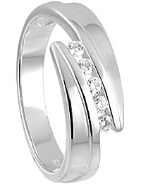 Diamond Line Damen - Ring 375er Gold 5 Diamanten ca. 0,15 ct.