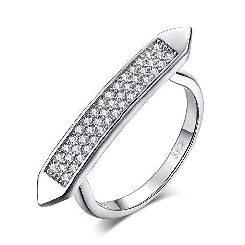 Jewelrypalace 925 Sterling Silber CZ pflastern Zirkonia Statement Ring Modern Art Deco Geometrisch