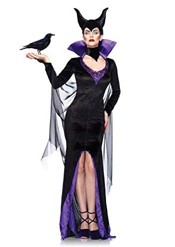 Leg Avenue-Kostüm-Maleficent die dunkle Fee, Hexe der Märchen Disney Dornröschen, Damen, komplett mit Kleid, Hals Hoch und Kopfbedeckung Medium Mehrfarbig