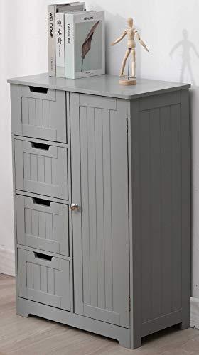 Etnicart - mobile bagno ingresso e soggiorno a 4 cassetti con sportello in legno mdf 55 x 30 x 81 cm. colore grigio-prodotto di qualita'