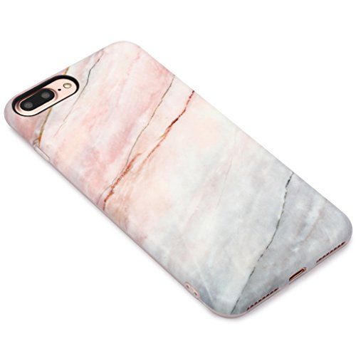 5.5 iPhone 7 Plus SGSELLER TPU Slim Fit Ultra Dünn Stoßfest Anti-Kratz Anti-Fingerabdruck Matt Schutzhülle Gehäuse, Plastik, Marmor (Weiß) Marble (Wood)
