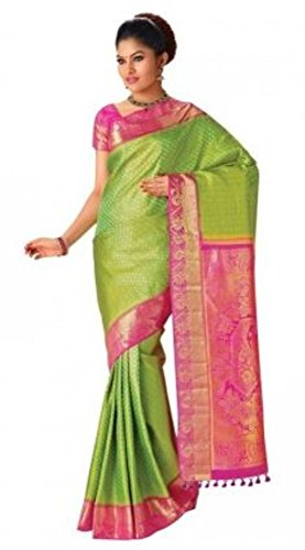Madisar Mami Tussar Silk Sarees (Green with Pink Border)