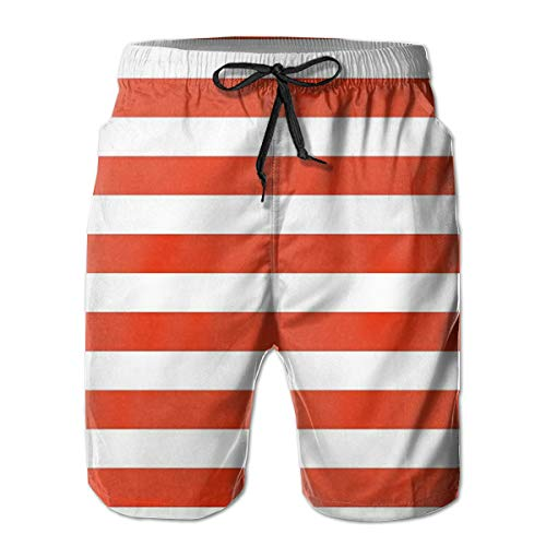 MIOMIOK Men Swim Trunks Beach Shorts,Classical Striped Pattern Bold Lines In Horizontal Direction Old Fashioned,Quick Dry 3D Printed Drawstring Casual Summer Surfing Board Shorts L - Old Navy Striped-shorts